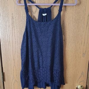 Maurices navy blue lace, racer back top  Size 2